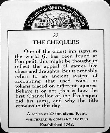 Chequers Inn card back