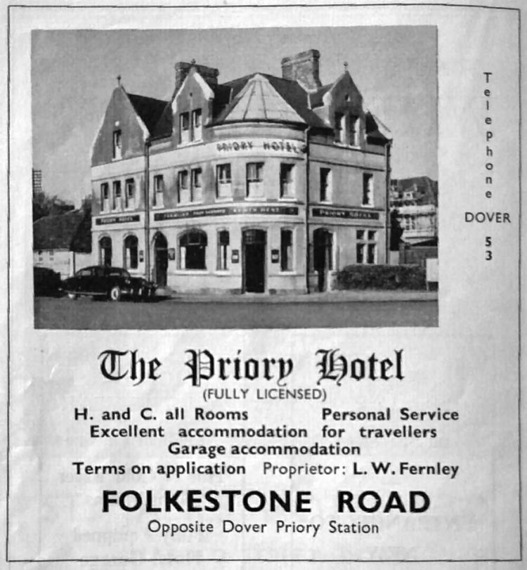 Priory Hotel advertisement 1956