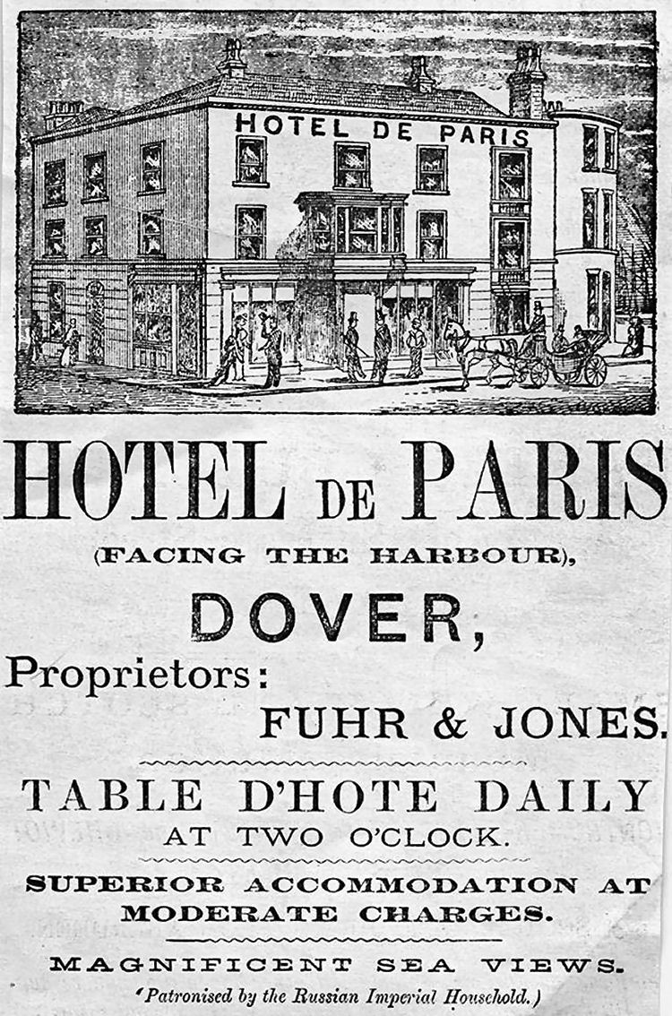 Hotel de Paris advert 1870