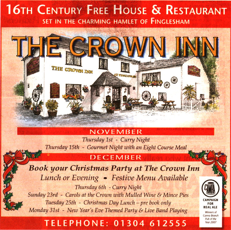 Crown at Finglesham advert