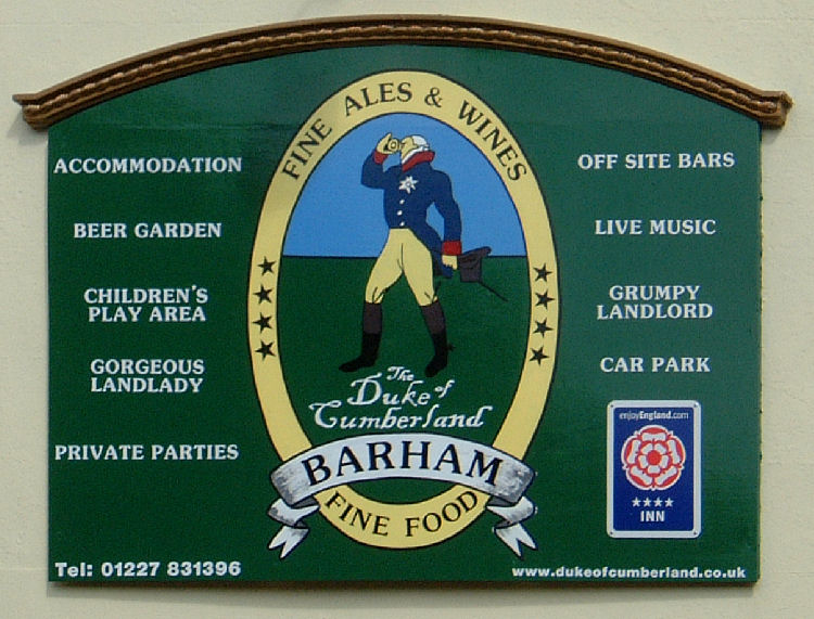 Duke of Cumberland sign at Barham
