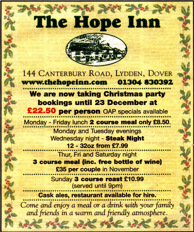 Hope Inn Lydden advert