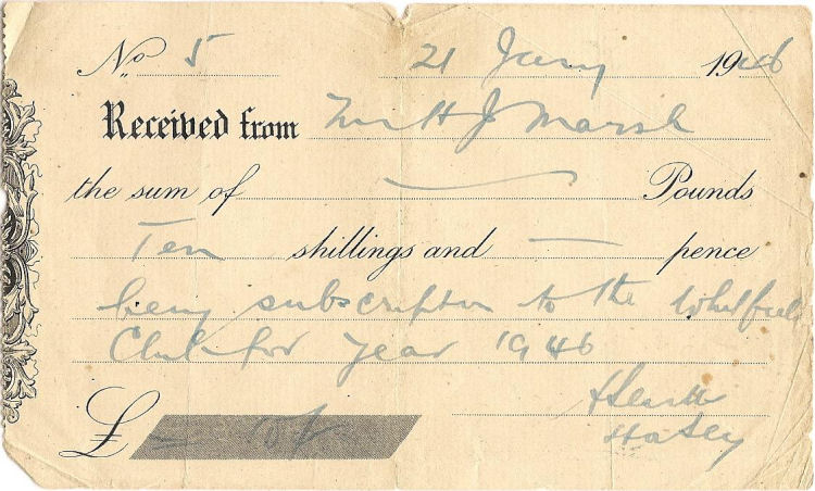 Whitfield Club 1946 receipt