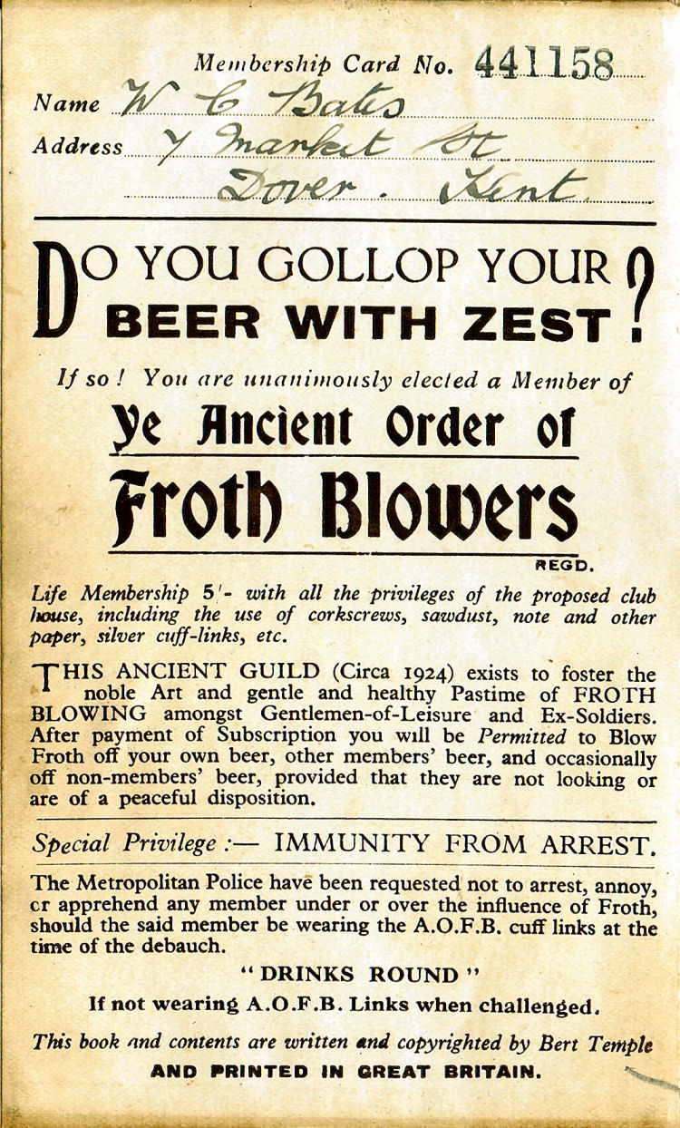 Ancient Order of Froth Blowers Card